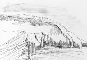 drawing of coastal train